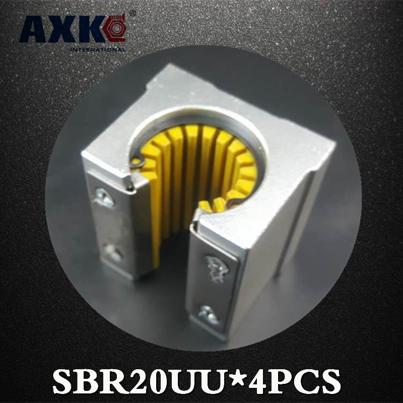 2018 Linear Rail Axk Axk 4pcs Sbr20uu Sbr20 Sbr20uu-s Linear Bearing 20mm Open Slide Block Cnc Parts Engineering Plastics 4pcs lot sbr20uu sbr20 20mm linear ball bearing block cnc router cnc parts and machine aluminum block linear guide rail