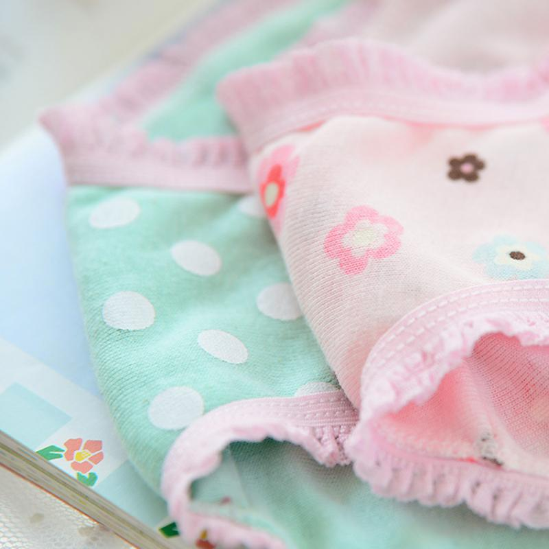 5PCS Kids Girls soft underwear Short Briefs Lace up Cotton Panties children underwear child cute shorts Underpants age 0-10Y 5