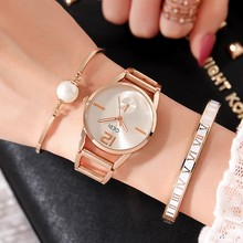 2019 GEDI Fashion Rose Gold Women Watches Top Luxury Brand Ladies Quartz Watch 3 Pieces S-Shock Watch Relogio Feminino Hodinky miss fox women watches top brand luxury stainless steel gold casual watch ladies business quartz watch hodinky relogio feminino