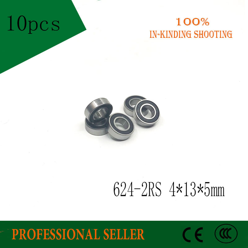 10pcs/Lot 624-2RS 624 RS 4x13x5mm ABEC-3 Rubber Sealed Ball Bearing Miniature Bearing