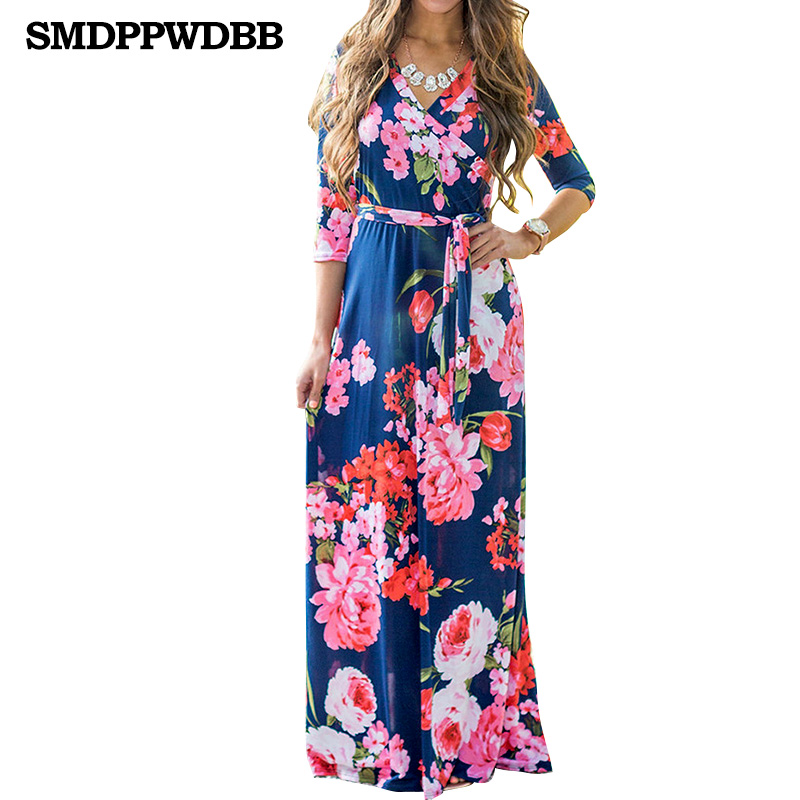 SMDPPWDBB Boho Deep V- Neck Long Women Dress Floral Print Summer Autumn Dress Beach Maxi Dress Vestidos Maternity Nursing Dress ...