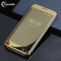 For Samsung Galaxy J3 2016 Electroplating Flip Case Transparent Clear View Bag Hard Cover Phone Cases
