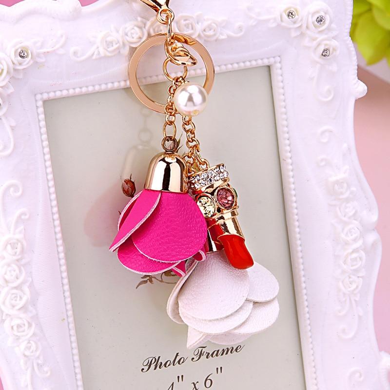 e19a939a5e39 Online Shop Fashion Leather Flowers Rhinestones Lipstick Keychain Key Ring  Women Purse Handbag Bag Charm Pandent Key Chain Holder Porte Clef