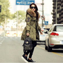 Real Fur Winter Down Jacket Women Hood Coat 2016 Brand New Big Raccoon Fur Collar Army Green Casual Long Slim Warm Women Parka