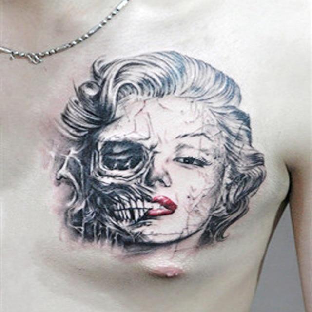 New Fashion Cool Marilyn Monroe Half Face Half Skull Sexy Tattoo
