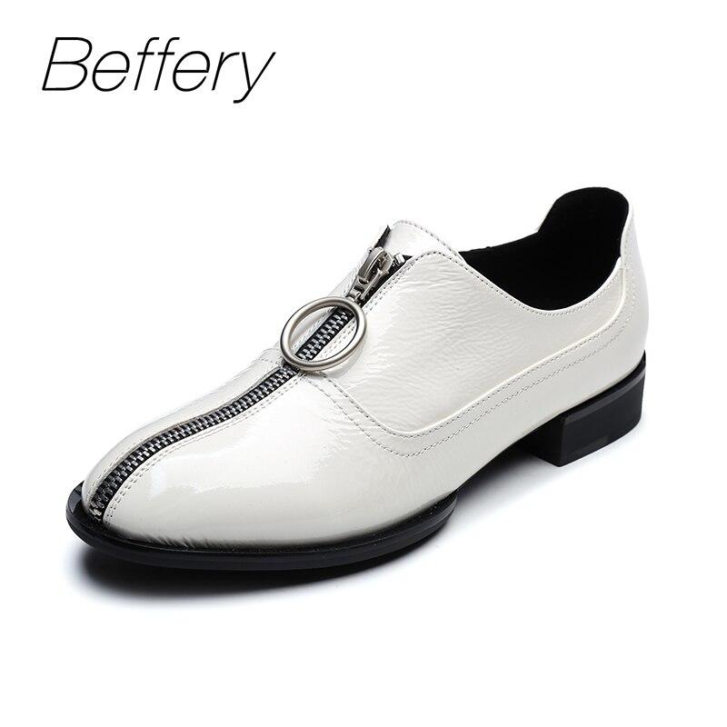 Beffery 2018 New Genuine Leather Oxford Women Flat Shoes For Women Fashion Zipper Casual Shoes Fashion Platform Shoes A17C02-1 beffery 2018 new fashion sneakers women genuine leather lace up flat platform shoes for women fashion star casual shoes a1md701