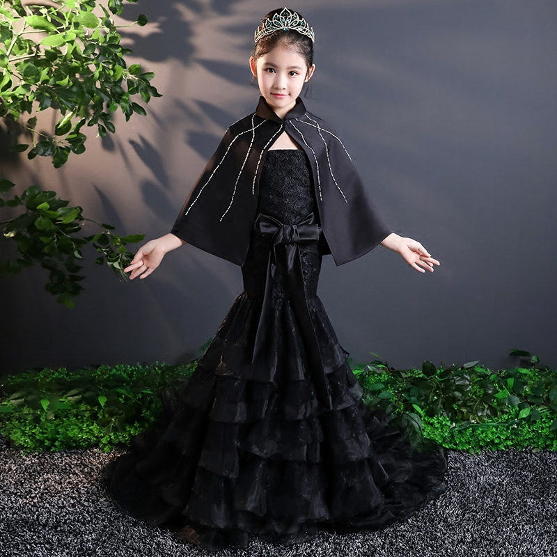 Royal Black Evening Party Dress Children Mermaid Princess Girl Dress Trails Girl's Tutu Dress Kids Pageant Dresses Lace Up A121 lace high low swing evening party dress