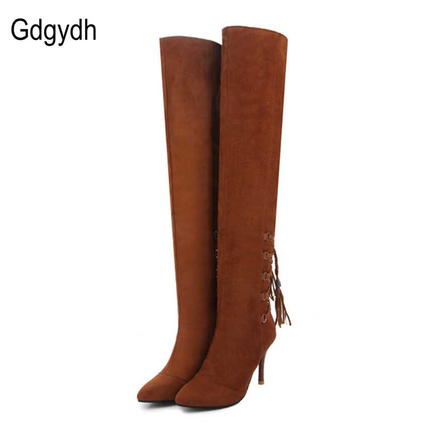 Gdgydh Fashion Stretch Fabric Black Over The Knee Boots Women Pointed Toe Ladies Autumn Shoes High Heels Tassel Boots Big Size allbitefo fashion sexy high heels stretch fabric over the knee boots brand pointed toe high heel shoes women boots size 33 43