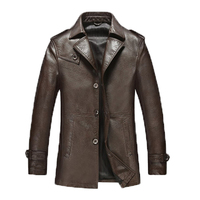 2015 Spring Sheep Skin Leather Leather Men S Business Casual Windbreaker Jacket And Long Sections Lapel