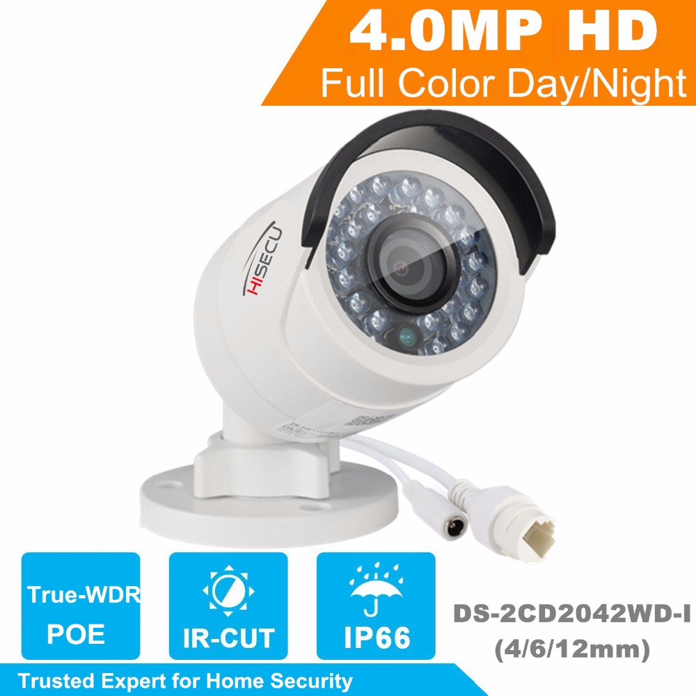 Hiecu IP camera 4MP Bullet Security IP Camera with POE Network camera DS-2CD2042WD-I  Video Surveillance 4/6/12mm lens