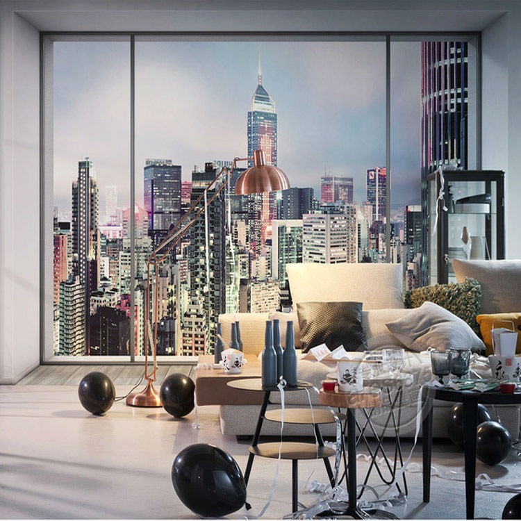 Buy 3d window city landscape photo for Room decor 3