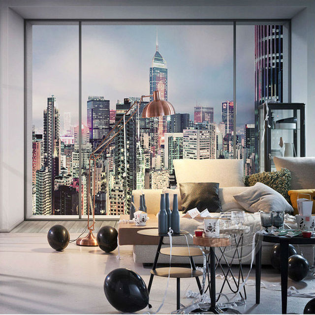 3D Window City Landscape Photo Wallpaper Large Wall Mural New York Sunrise  Wallpaper Bedroom Room Decor