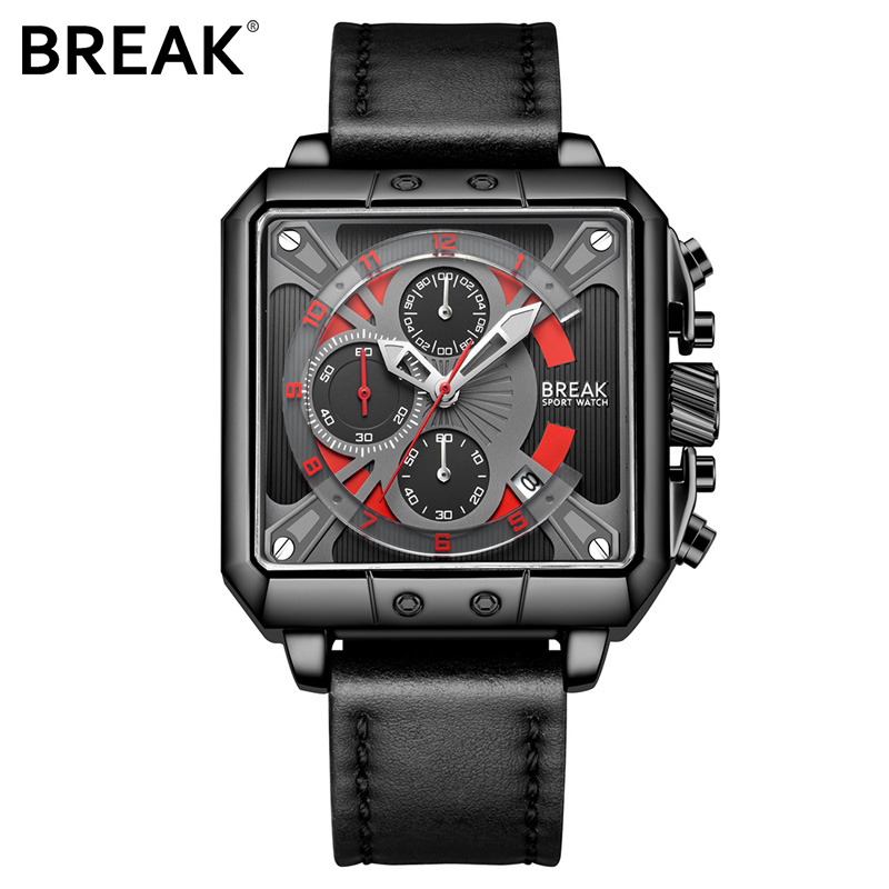 BREAK Chronograph Casual Watch Gift for Men Luxury Brand Quartz Sport Watch Genuine Leather Men's Wristwatch Relogio Masculino meibo brand fashion women hollow flower wristwatch luxury leather strap quartz watch relogio feminino drop shipping gift 2012
