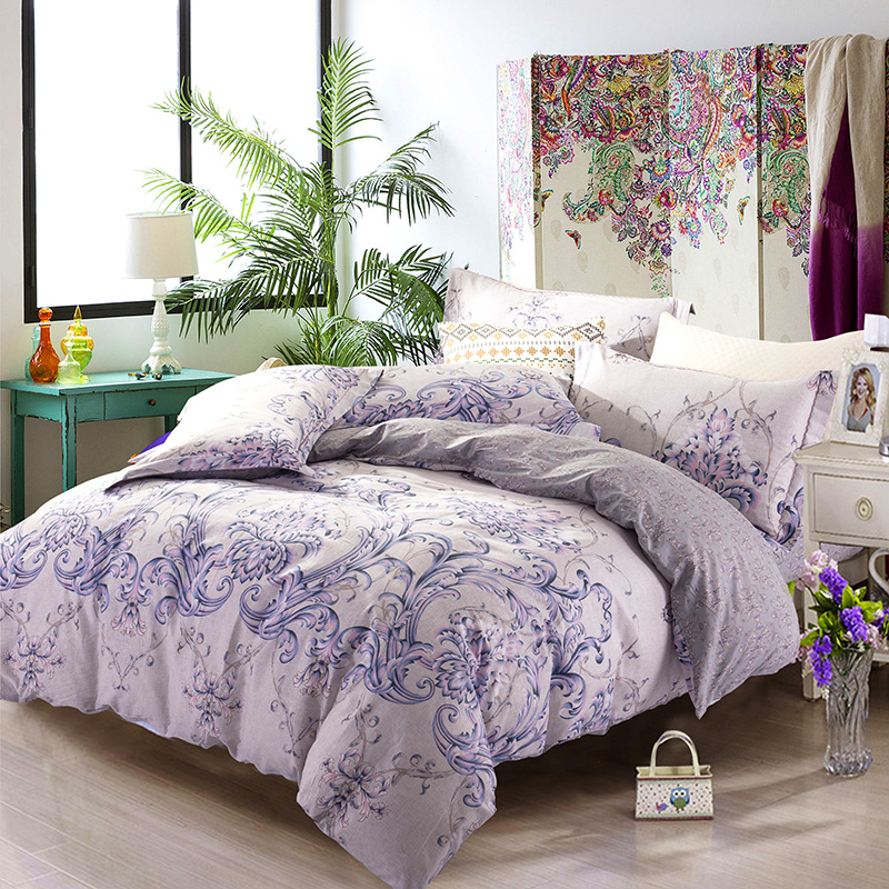 buy 100 cotton duvet cover sets 4pc no comforer king size 3d floral retro bedlinen full queen size princess bedding sheet from reliable