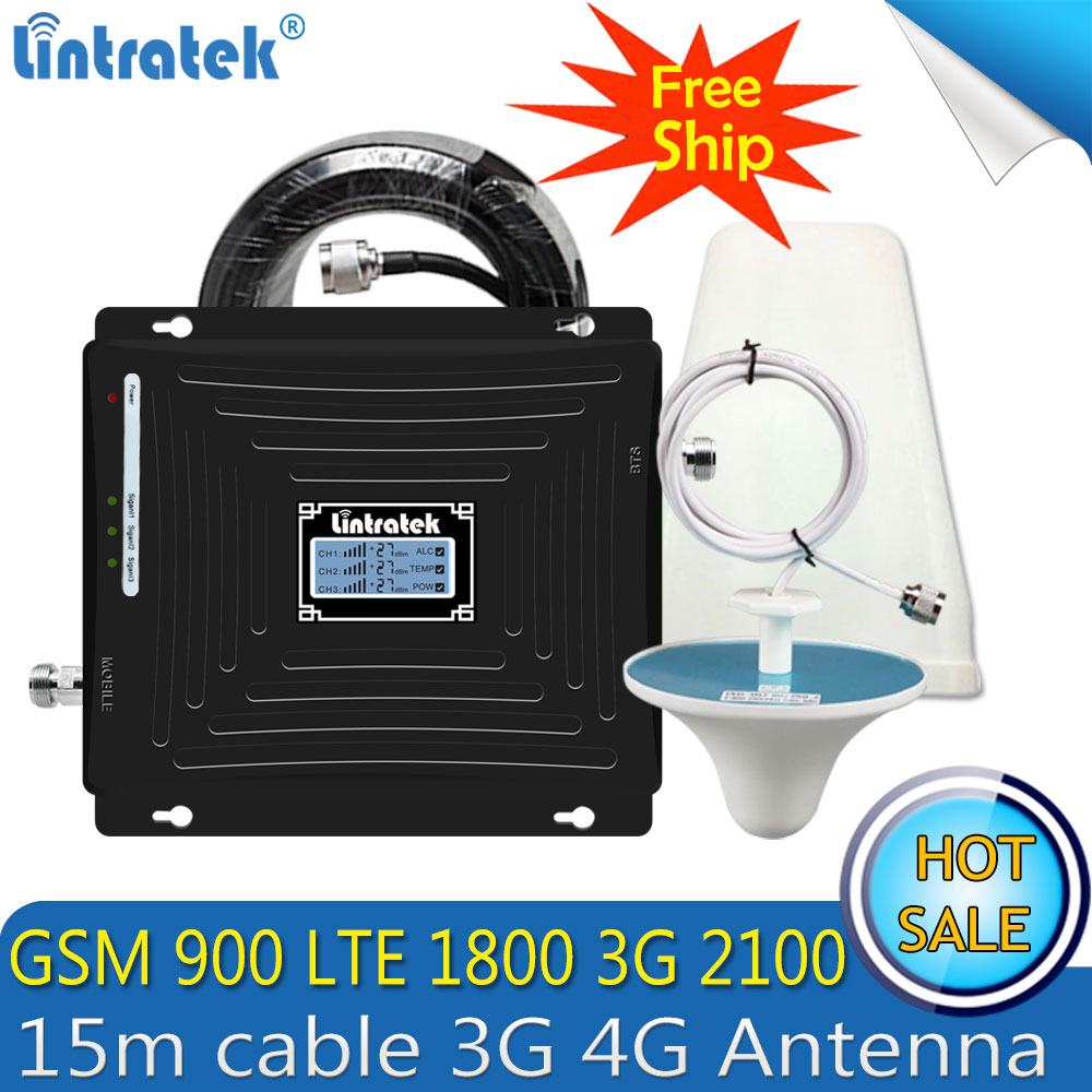 Lintratek 2G 3G 4G GSM Repeater 900 1800 2100 Tri-Band Cell Phone Signal Booster LTE 4G Cellular Signal Amplifier