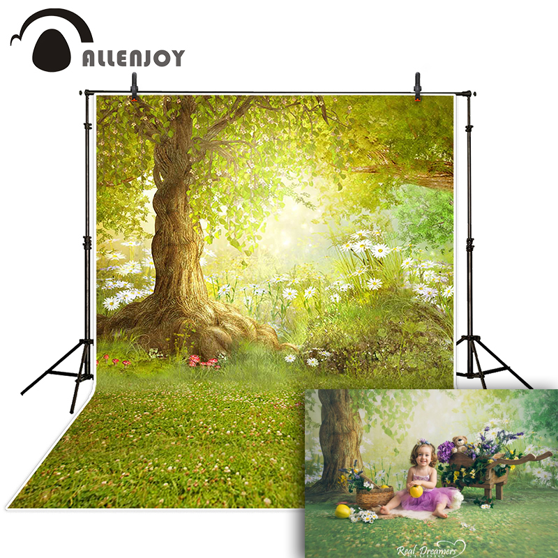 Allenjoy photographic background Meadow flower tree forest backdrops children boy studio scenic 10x10ft