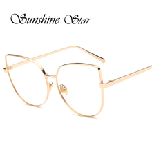 Sunshine Star Sexy Vintage Fashion Cat Eye Shape Women Lady Men Metal Plain Glasses High quality Eyeglasses Oculos Gafas 3 Color shape sunshine