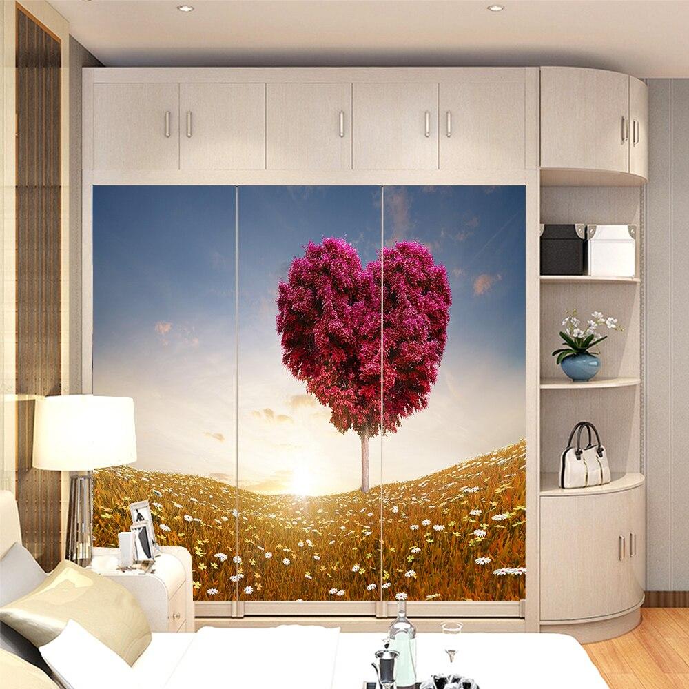 Yazi Customized Size Pvc Wallpaper Mural Bedroom Wardrobe Sliding