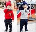 Roupas de inverno 2015 das crianças do bebê meninos e meninas ternos casaco de inverno além de veludo dois-peça-direto da fábrica-roupas