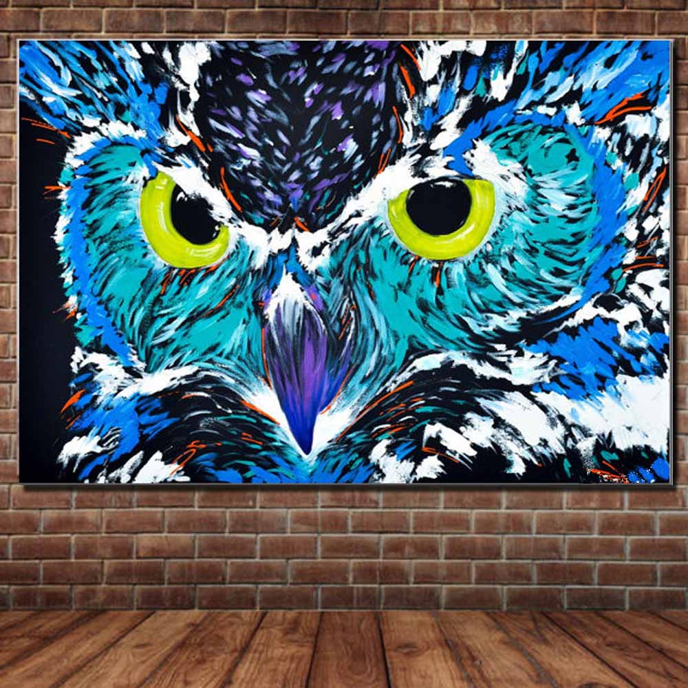 Abstract Animal Owl Oil Painting on Canvas Modern Style ...