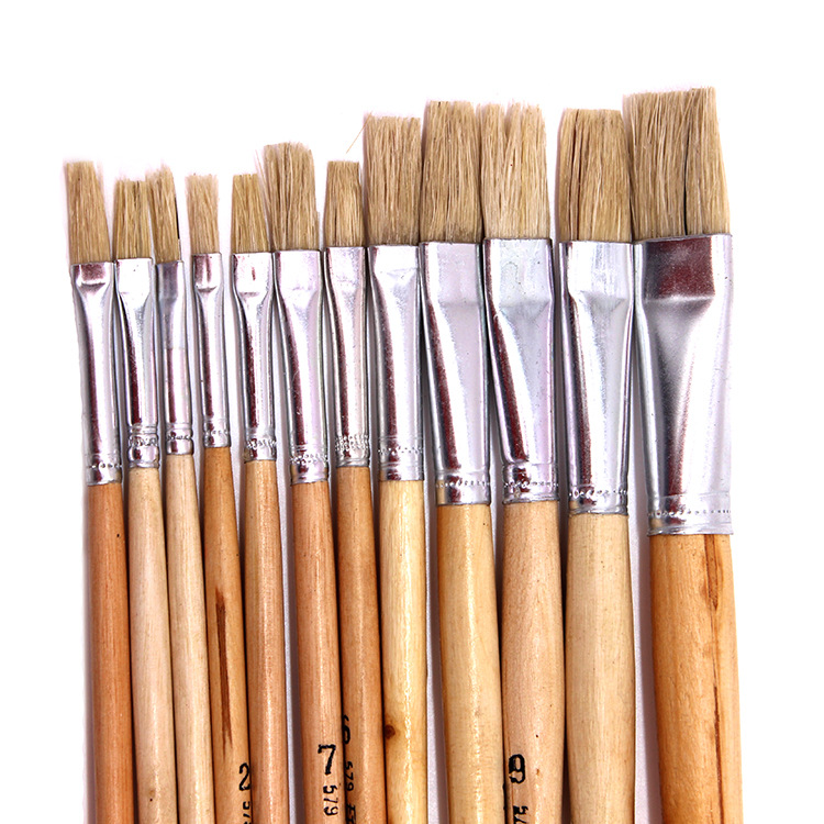 12pcs/set Natural Wood Rod Pig Bristle Paintbrush Watercolor Brush Acrylic Paints Chese Painting Brush Art Supplies