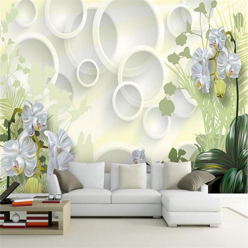 Beibehang Bunga Anggrek Papel De Parede 3D Dinding Kertas Foto Wallpaper Dinding 3D Mencakup Kamar Tidur
