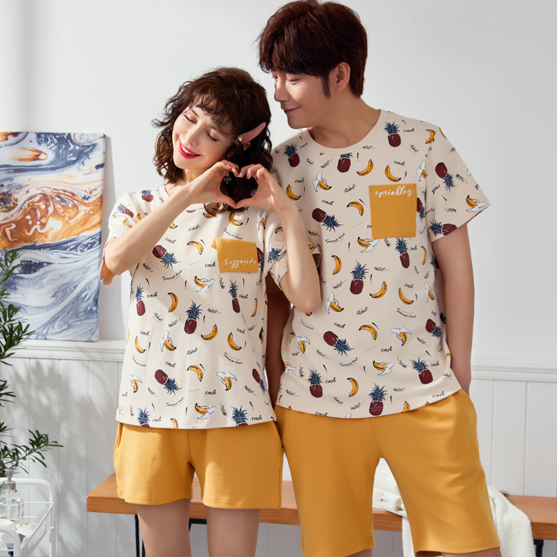 Short-Sleeved Summer Pyjama Loose Men Style Couple Pijama Set Sleepwear Top+ Shorts Young Lovers Pajamas Sets Women Nightwear