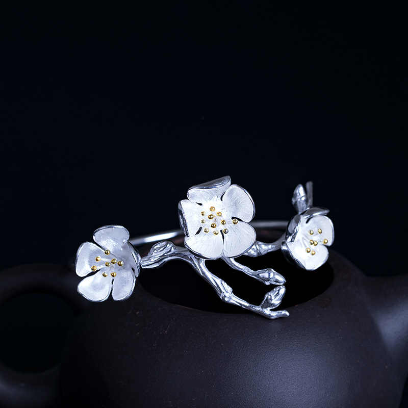 Lá bay Trung Quốc Phong Cách Vàng Chi Nhánh Hoa Cuff Bangles Đối Với Phụ Nữ Handmade 100% 925 Sterling Silver Bạc Cổ Điển Đồ Trang Sức Pulseiras