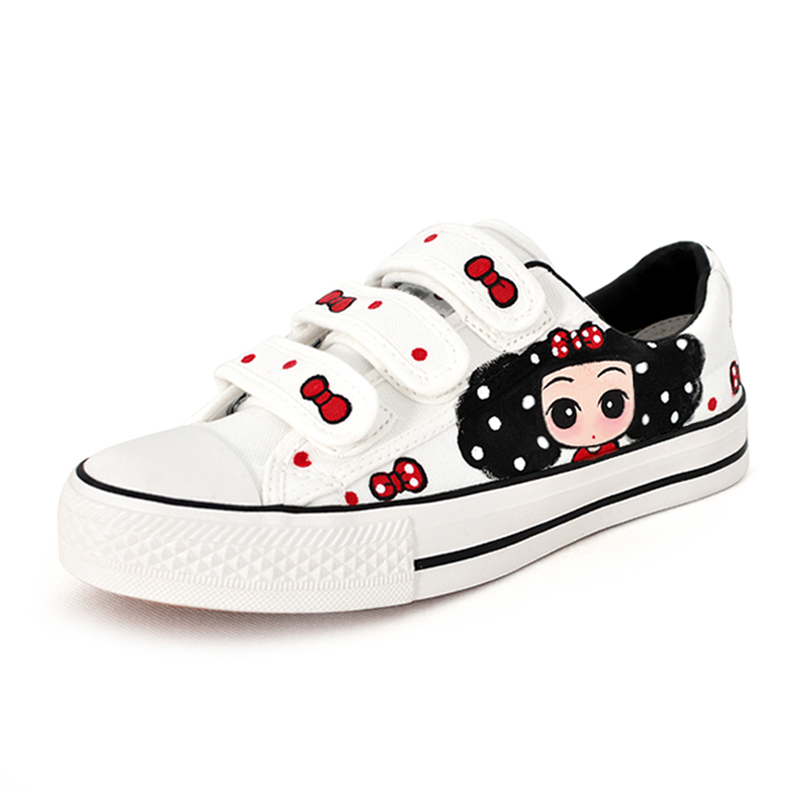 Hand painted shoes blank canvas shoes white male and female low lazy pedal Free shipping