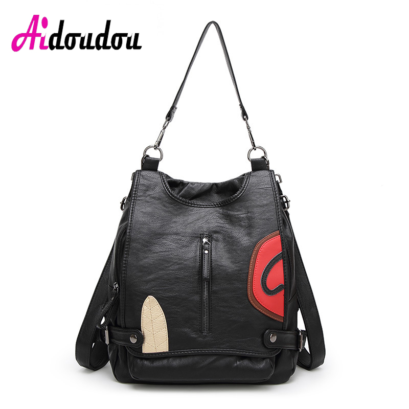 AIDOUDOU Bag Pack Backpack Leather Women Cool Backpack Girls Travel Sheepskin +PU Mother Bag Student Backpack Luxury Rucksacks