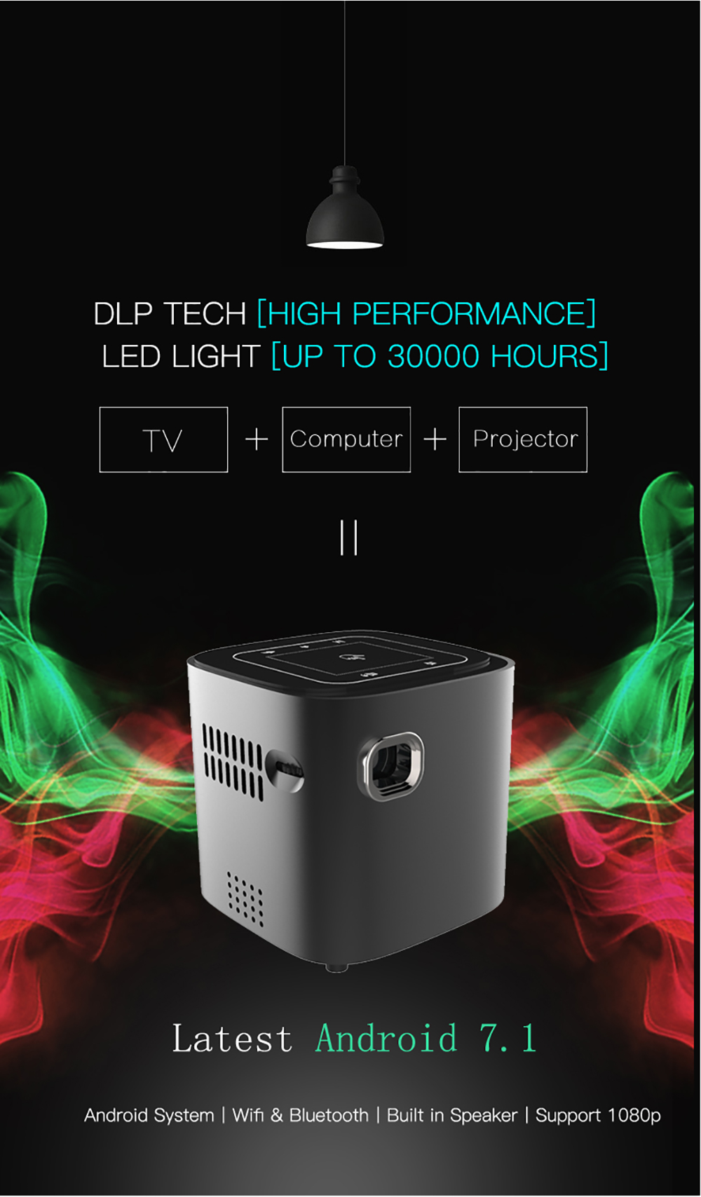 CRENOVA Newest DLP Wifi Bluetooth Mini Projector With Android 7.1.2OS  For Home Theater 6