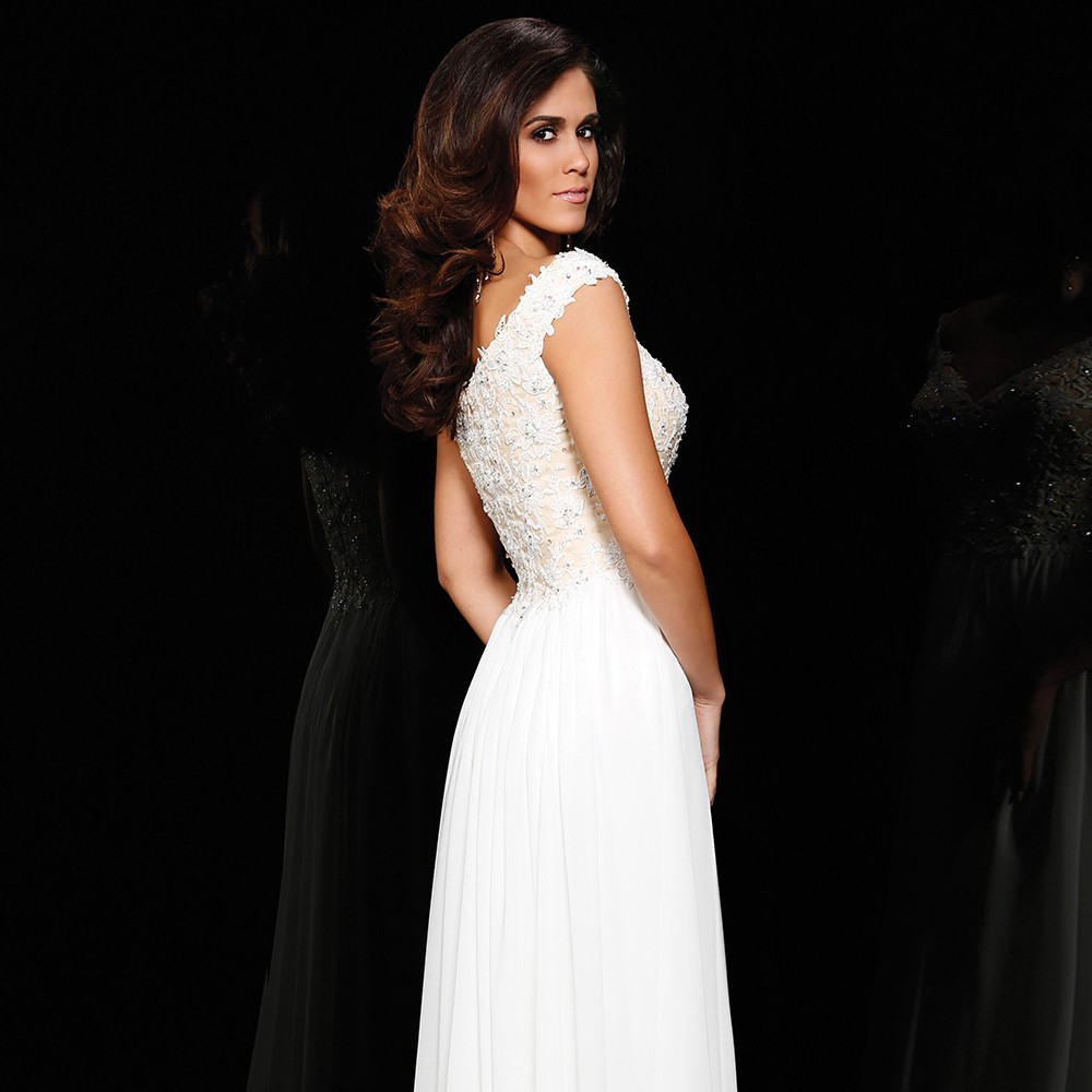 PF290-Simple-A-Line-Cap-Sleeve-V-Neck-White-Sequin-Long-Evening-Dresses-2015-Special-Occasion (1)