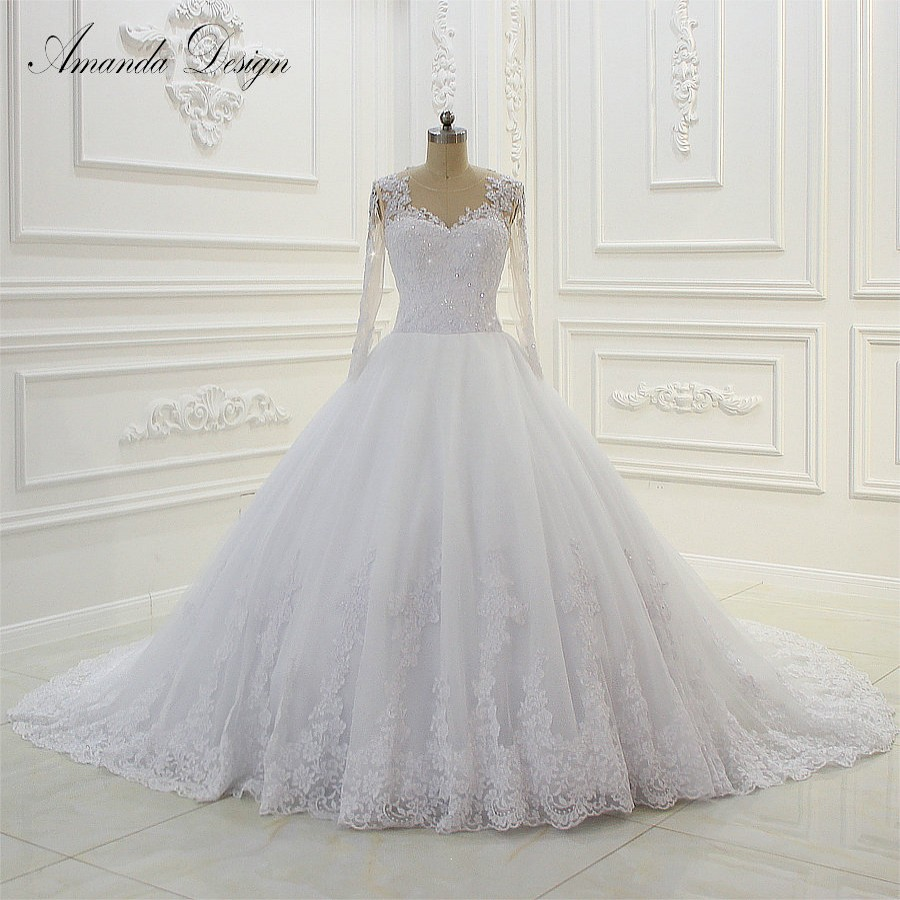 Wedding Dress Ball Gown Style: New Style Real Photos Long Train Lace Ball Gown Wedding