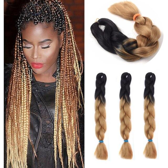 3pcs Lot Black Brown Ombre Kanekalon Jumbo Braiding Hair 24
