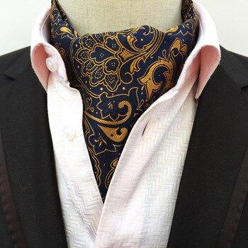 цена Fashion Paisley  Vintage 100% Silk Cravat Ascot Scrunch Self Luxury British Style Gentleman Silk Ascot tie Wedding Party онлайн в 2017 году