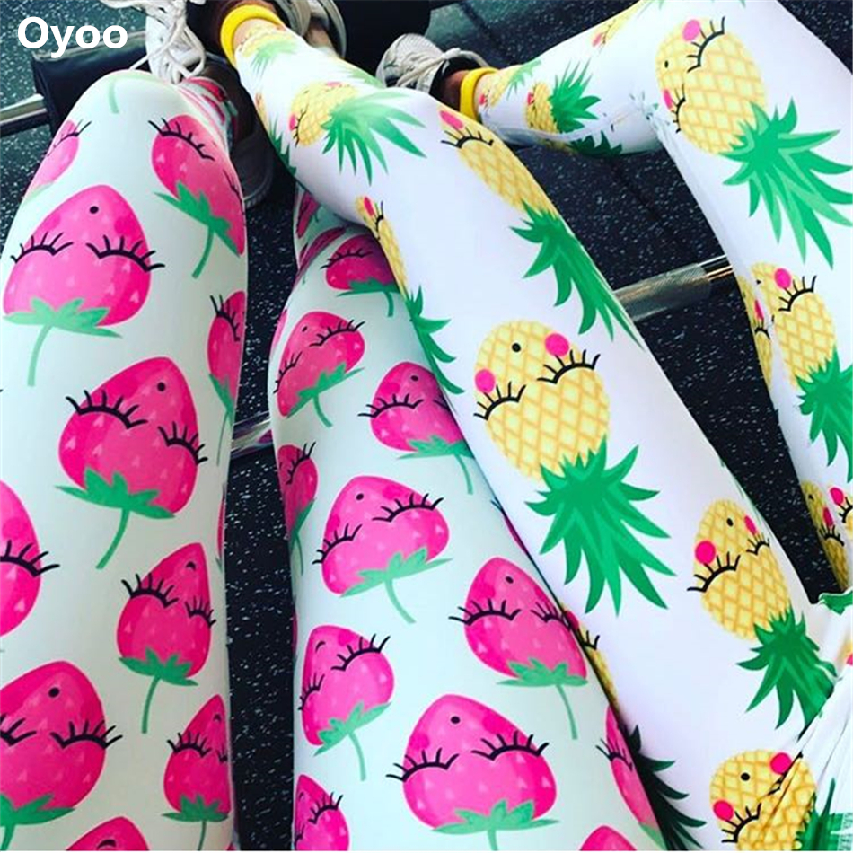 Prix pour Oyoo Charme Sourire Ananas Fitness Leggings Moyen Hausse Imprimé Yoga Pantalon Femmes Sport leggings D'entraînement Femmes Gymwear