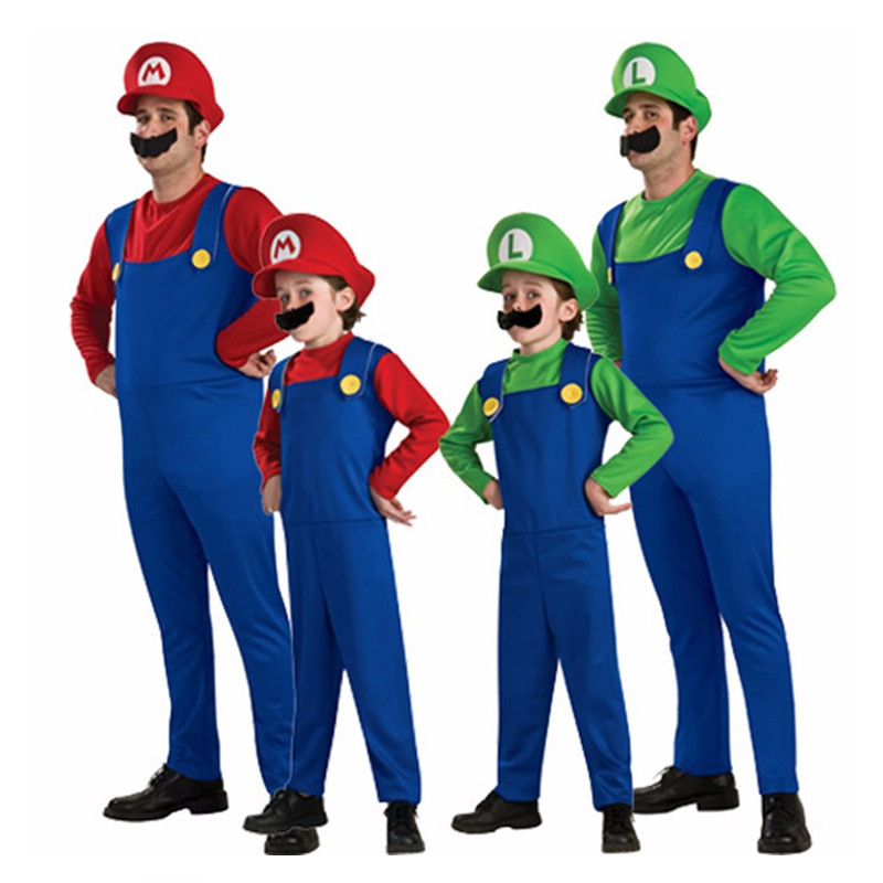 Halloween Super Mario Cosplay Kostymer Barn Män Funy Brothers Luigi Bros Rörmokare Julkostym Fancy Dress