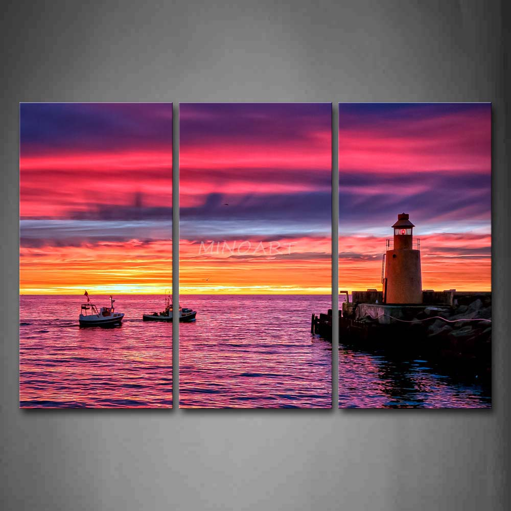 Aliexpress Com Buy 3 Pieces Wall Art New York City: 3 Piece Wall Art Painting Colorful Sunset Glow Boats Over