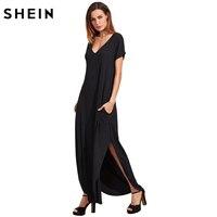 SheIn Summer Dresses Casual T Shirt Dress Black Rolled Cuff Pockets Split Maxi Dress Women V