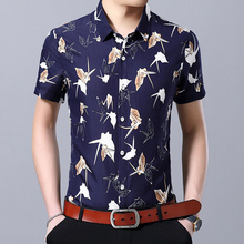Flower shirt mens summer large size S-7XL square collar  short-sleeved cotton comfortable breathable flower