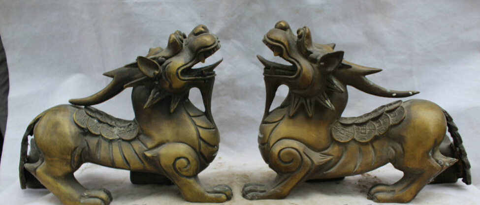 "JP S0524 16"" Chinese Copper Feng Shui Wealth Unicorn Beast Pi Xiu Statue sculpture Pair sculpture babies sculpture chinese sculpture copper - title="
