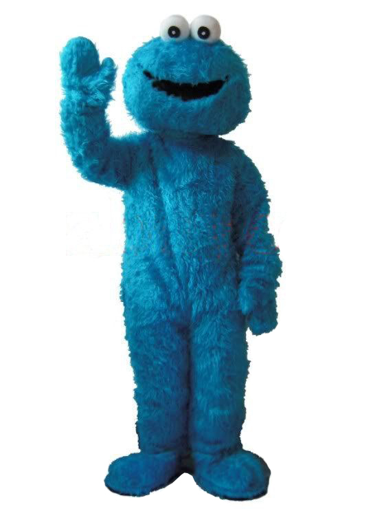 Blue Cookie Monster Mascot-puku Fancy Dress Aikuisten koko Halloween cosplay-puvut