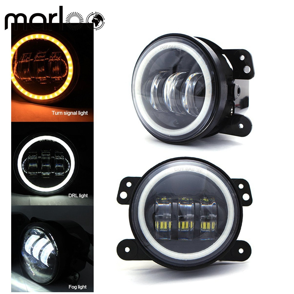 Marloo 4 inch Led Fog Lights DRL White Amber Yellow Turn Signal Halo Ring Front Bumper Lights for Jeep Wrangler JK TJ LJ Dodge ijdm amber yellow error free bau15s 7507 py21w 1156py xbd led bulbs for front turn signal lights bau15s led 12v
