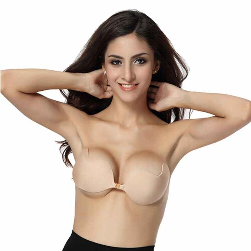 7c03f818a9186 Women Front Closure Silicone Self-Adhesive Half Cup Wire Free Backless  Strapless Seamless Push Up