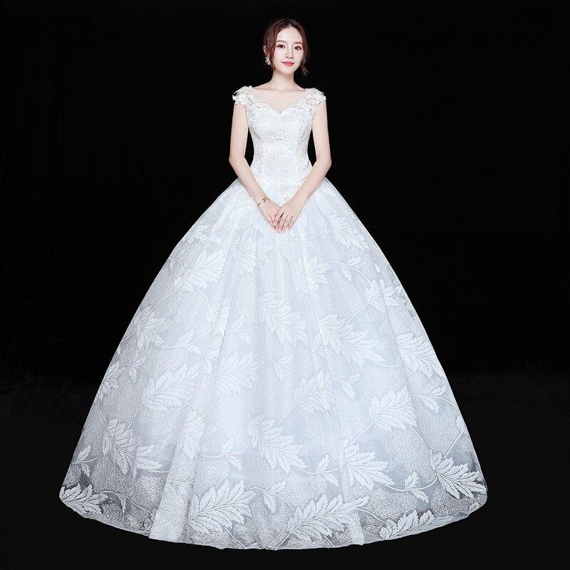 Fansmile Real Photo Vintage Lace Up Ball Wedding Dresses 2019 vestido de noiva Bridal Wedding Gowns