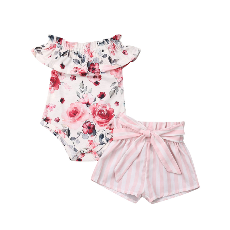 Infant Baby Girl Clothes Floral Romper Bow Striped Shorts Pants Outfit Summer Fashion Baby Clothing Set Toddler Costume 0-18M
