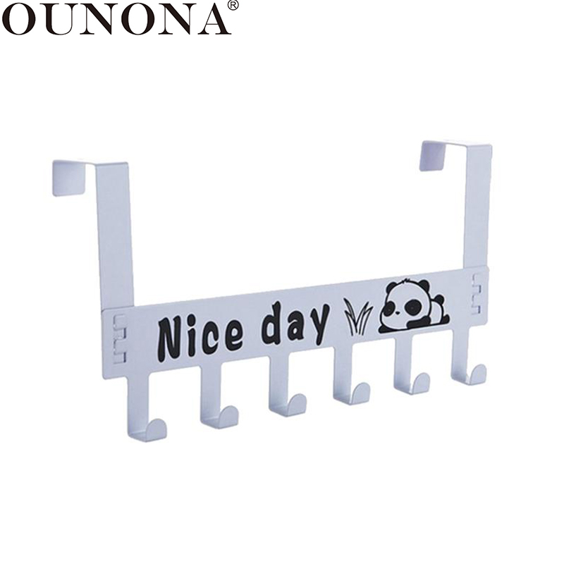 OUNONA Over The Door Hook Coat Hat Hanger Hook Door Storage Hanging Rack With 6 Hooks Holder Home Organizer For Towel Bag Hooks