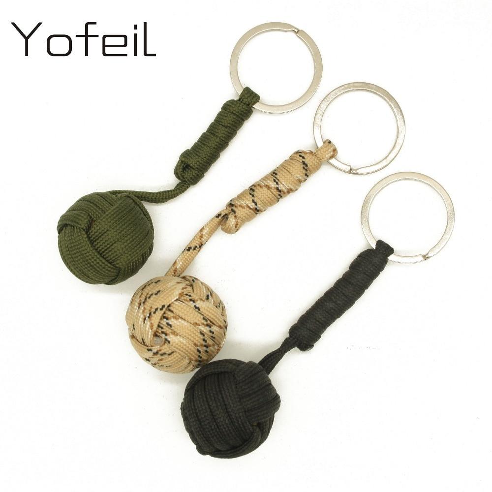 2 Pcs/lot Emergency Security Protection Black Monkey Fist Wood Ball Self Defense Parachute Lanyard Survival Camping Key Chain