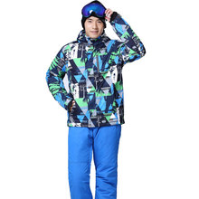 2017 New High Quality Brand Winter Ski Suit Mens Snow Snowboard Jacket Pants Waterproof Windproof Thermal Outdoor Skiing Clothes