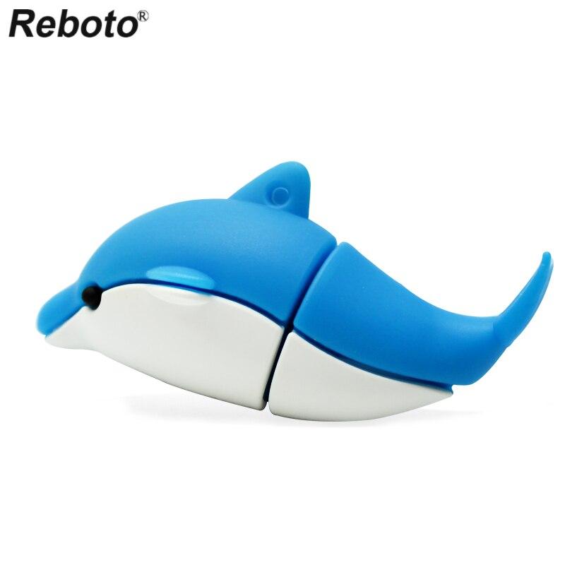 Reboto Cute Bule Dolphin USB Drive 16GB USB 2.0 Pen Drive 32GB 64GB 8GB Children Pendrive Animal Shape 4GB U Disk